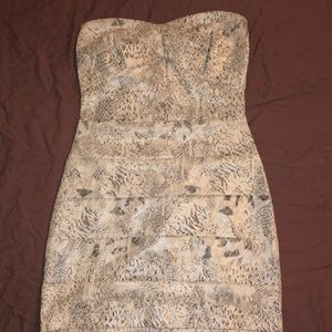 Snake skin print fitted dress